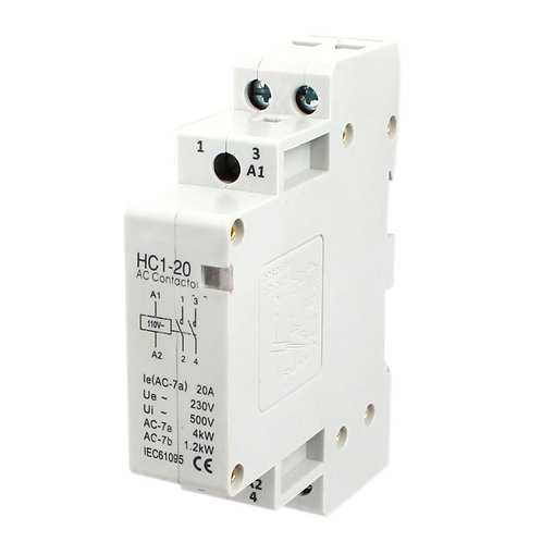 Baomain AC Contactor HC1-20 110V 20A 2 Pole Universal Circuit Control DIN Rail
