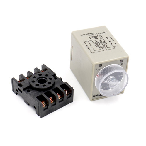 AC 220V AH3-2 Time Delay Relay Solid State Timer 8 Pins 0-60S with Socket