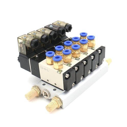 Heschen 4V110-06 DC 24V 6mm PT1/8 2 Position 5 Way Solenoid Valve Connected Base