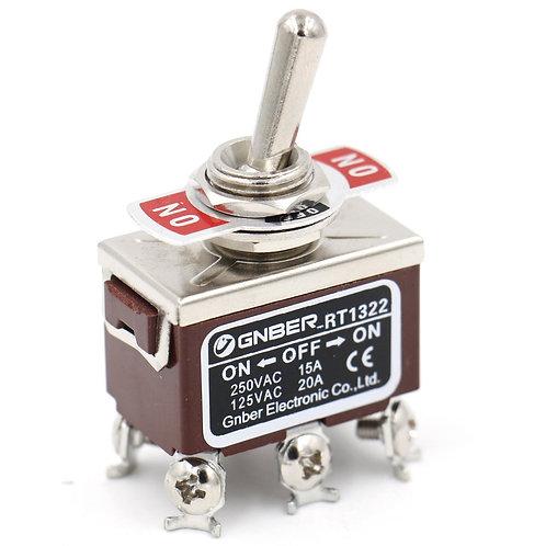 DPDT ON/OFF/ON 3 Position AC 15A/250V 20A/125V 6 Screw Terminals