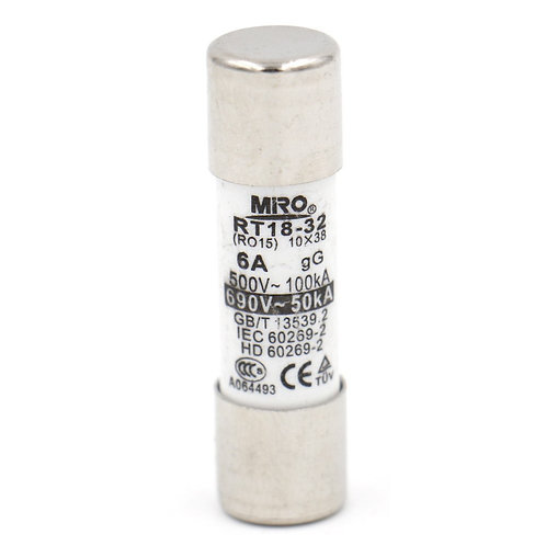 Heschen RT18-32 (RO 15) AC Cylindrical Fuse, 10 x 38, 6 Amp 500V 6A 20 Pack