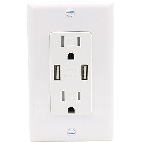 Baomain USB Charger Outlet/Duplex Receptacle, Tamper Resistant outlet, 3.1A 5VDC