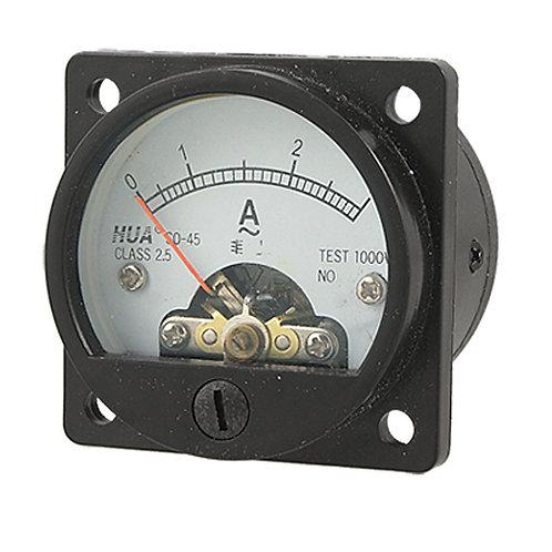 Clase 2.5 Precisión AC 0-3A Ronda Analog Panel Medidor Amperímetro Negro SO-45
