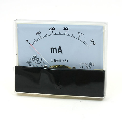 Baomain 44C2 DC 0-500mA Rectangle Analog Panel Amp current meter Gauge 2.5