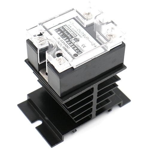 SSR-40DD 40A Signal Phase DC Solid State Relay DC 3-32V DC 24-220V + Heat Sink