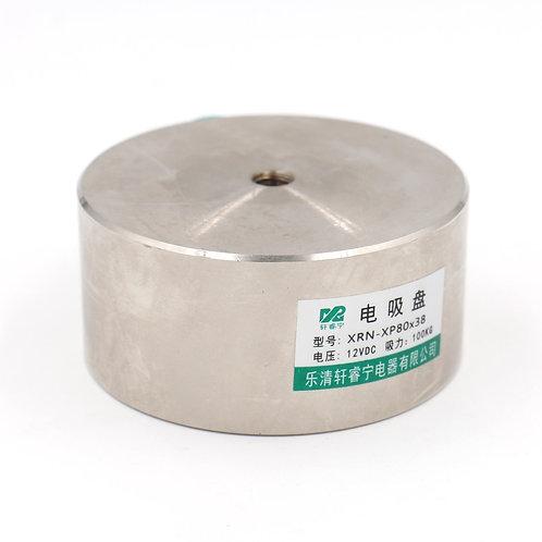 Heschen Electromagnet Solenoid P 80X38 220.5LB /100kg Force Lifting Magnet 12VDC
