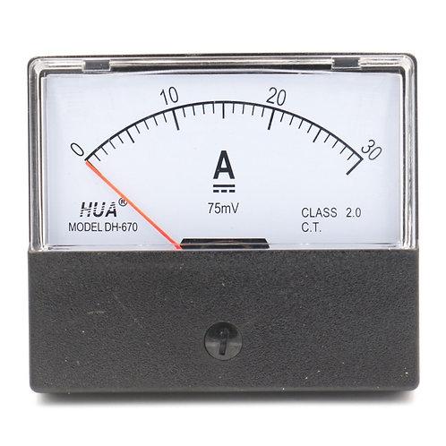 DH-670 DC 0-30 A Rectangular Ampere Needle Panel Meter Gauge Amperemeter