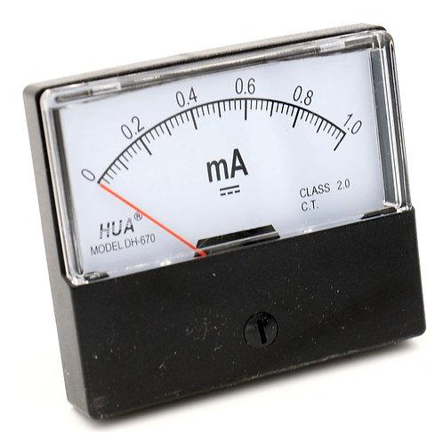 DH-670 DC 0-1 mA Rectangular Ampere Needle Panel Meter Gauge Amperemeter