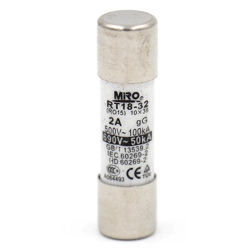 Fuse Link RT18-32 Cylindrical Ceramic Tube 10x38mm 500V 2A CE TüV listed 20 Pack