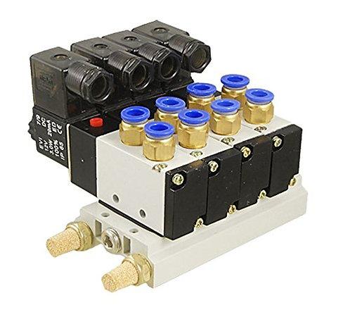 Heschen DC 12V Einzelkopf 2 Position 5 Wege 4 Pneumatisches Magnetventil mit Soc