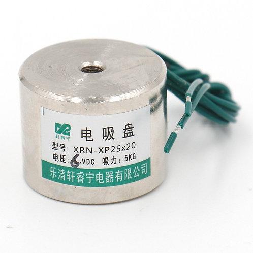 Heschen Electromagnet Solenoid P 25X20 11LB / 5kg Force Lifting Magnet 25mm 6VDC