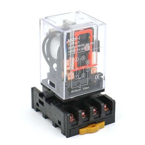 Heschen Power Relay MK2P-I AC 220V Coil DPDT 8 Pin with Plug-in Terminal Socket