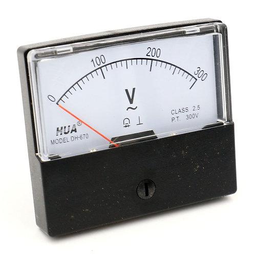 Heschen carcasa de plástico AC 0-300V Rectangle Volt Analog Panel Meter DH-670