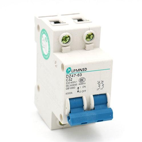 Interruptor de circuito en miniatura DZ47-63 C32 AC 230V 400V 32Amp Montaje en c