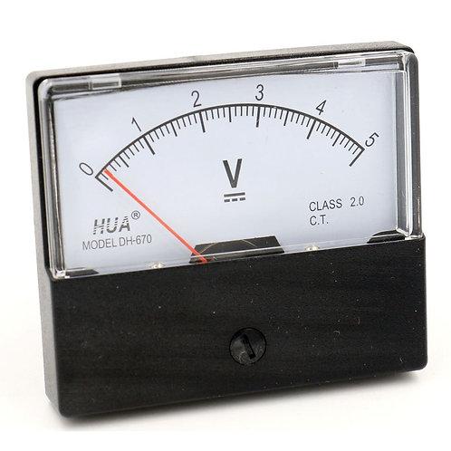 Voltmeter DH-670 DC 0-5V Rectangular Class 2.5 Analog Panel Volt Voltage Meter