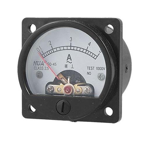Heschen Class 2.5 Accuracy AC 0-5A Round Analog Panel Meter Ammeter Black SO-45