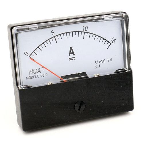 DH-670 DC 0-15 A Rectangular Ampere Needle Panel Meter Gauge Amperemeter