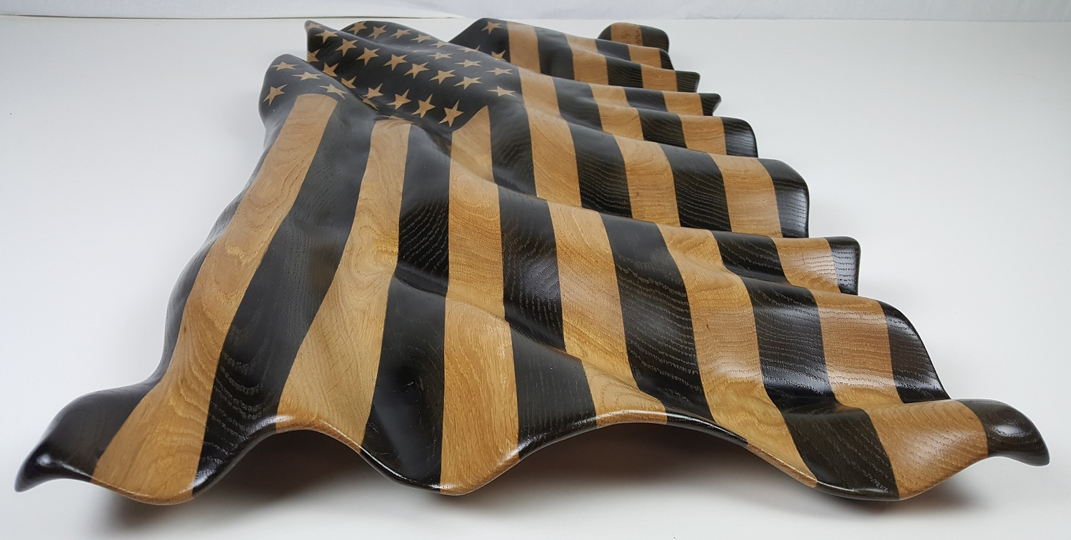 Carved American Flag - Sculpture