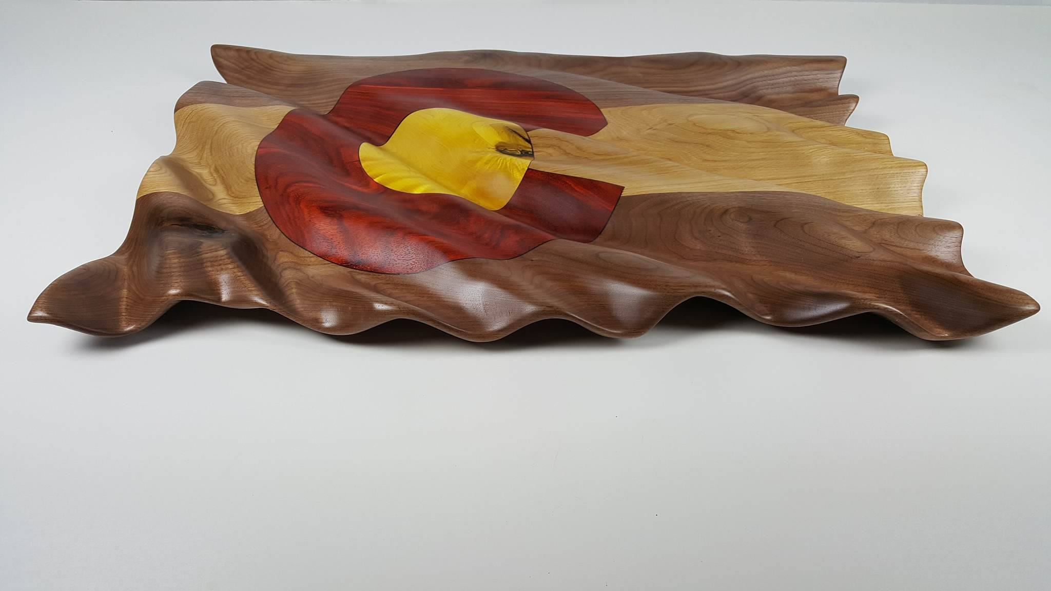 Carved Colorado Flag - Sculpture