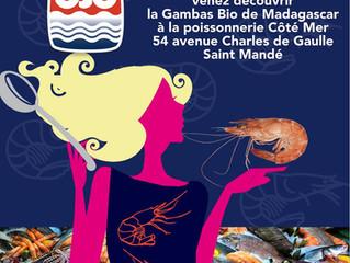 OSO, La Gambas Bio de Madagascar à la Poissonnerie Côté Mer de Saint Mandé