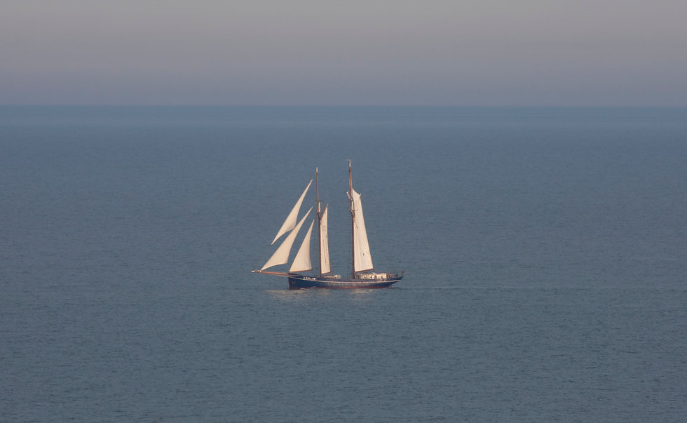 View of clipper from the house