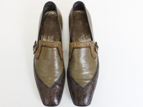 Prada Brown Leather/Crocodile Loafer w/Buckle Size 9