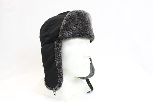 Prada Hat w/Shearling & Leather Trim Small