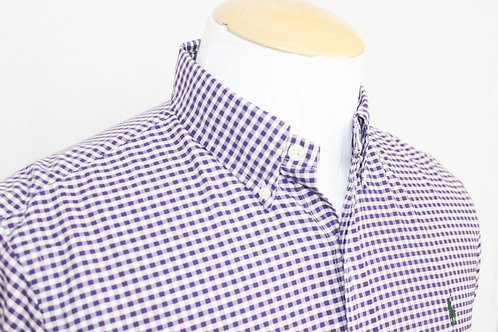 Ralph Lauren Purple and White Gingham Plaid Button Down Shirt (Medium)