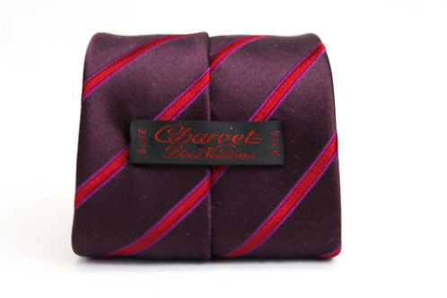 Charvet Burgundy Striped Necktie