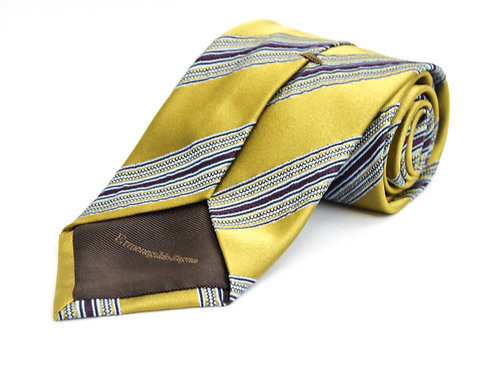 Ermenegildo Zegna Silk Striped Necktie Yellow