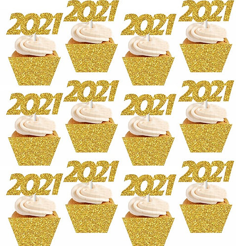 2021 NEW YEAR Cupcakes Toppers or Wrappers - 12 or