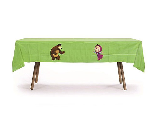 Masha and the Bear Plastic Table Cover with Stickers - 140 cm x 275cm