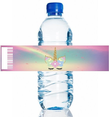 Unicorn Water Bottles Stickers - 6 pcs set