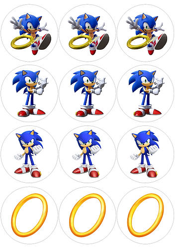 Sonic Game Characters Round Glossy Stickers - 12 pcs set