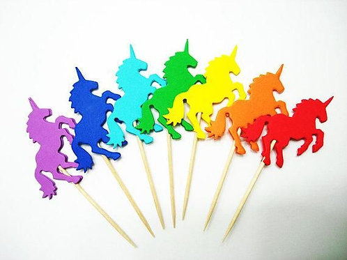 Multicolor Unicorn Cupcakes Toppers or Wrappers -12 or 24 pcs