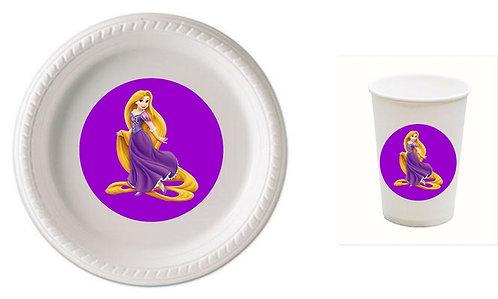 Princess Rapunzel Plastic Plates with Cups - 12 pcs set