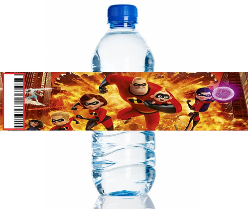 Incredibles Water Bottles Stickers - 6 pcs set