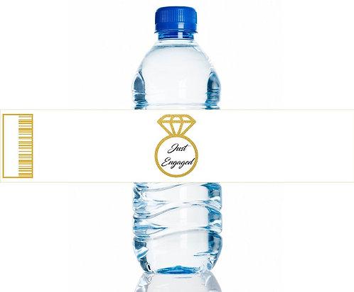 Just Engaged Wedding Water Bottles Stickers - 6 pcs set
