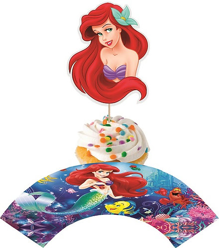 Princess Ariel Little Mermaid Head Cupcakes Toppers or Wrappers - 12 or 24pcs