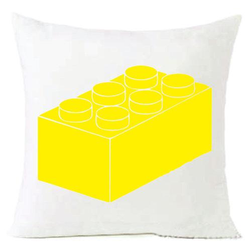 Yellow Lego Block Cushion Decorative Pillow - 40cm