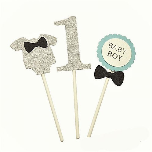 Silver Onesie Numbers  Baby Boy Cupcakes Toppers or Wrappers -12 or 24 pcs
