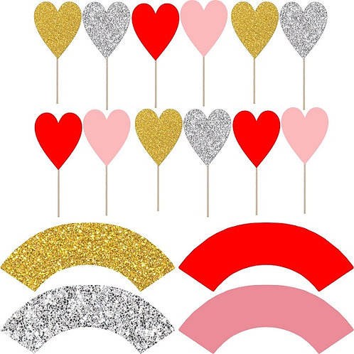Red Pink Silver Gold Hearts Valentines Cupcakes Toppers or Wrappers -12 or 24pcs