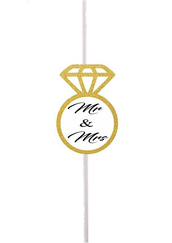 MR & MRS Wedding Engaged Cakepops Toppers - 12 pcs set