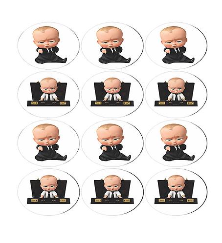 Boss Baby Round Glossy Stickers - 12 pcs set