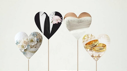 Wedding Hearts Cupcakes Toppers or Wrappers - 12 pcs or 24 pcs