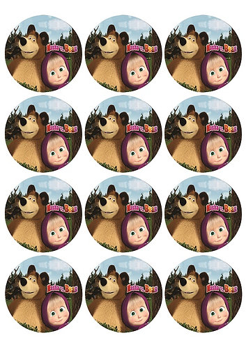 Masha and the Bear Round Glossy Stickers - 12 pcs set