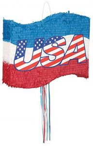 4th July USA Independence Day Party Pull Strings Pinata Round - 40cm
