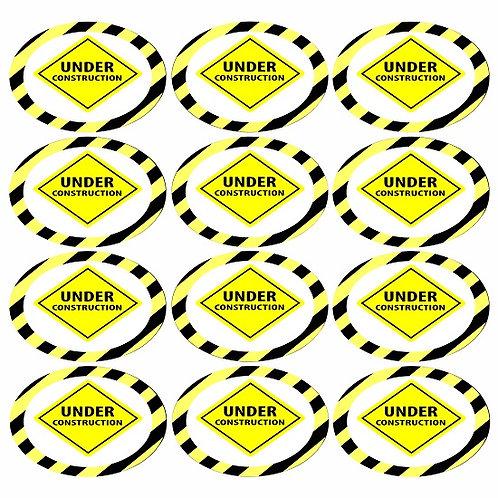 Under Construction Round Glossy Stickers - 12 pcs set