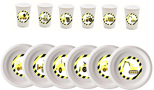 Under Construction Plastic Plates with Cups - 12 pcs set