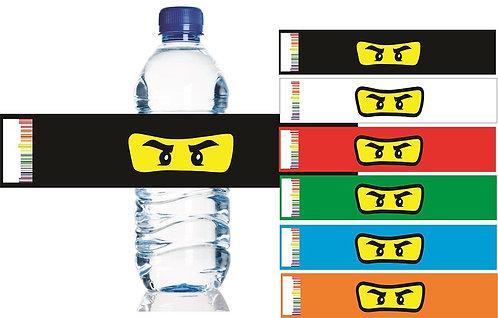 Ninjago Lego Water Bottles Stickers - 6 pcs set